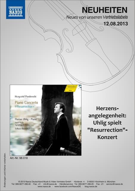 Blu-ray, DVD- und CD-Neuheiten August 2013 Nr. 2 (Im Vertrieb der NAXOS Deutschland GmbH)