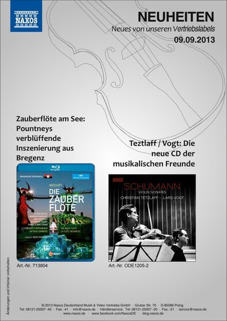 Blu-ray, DVD- und CD-Neuheiten September 2013 Nr. 2 (Im Vertrieb der NAXOS Deutschland GmbH)