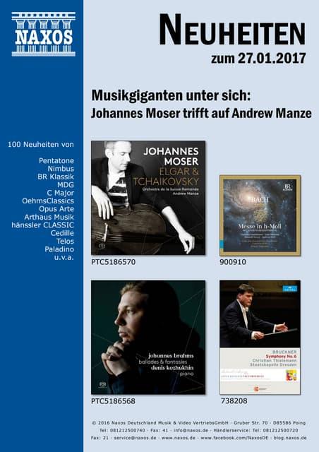 Neuheiten aus dem NAXOS Deutschland Vertrieb am 27. Januar 2017