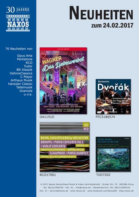 Neuheiten aus dem NAXOS Deutschland Vertrieb am 24. Februar 2017