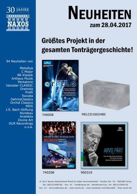 Neuheiten aus dem NAXOS Deutschland Vertrieb am 28. April 2017