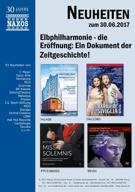 Neuheiten aus dem NAXOS Deutschland Vertrieb am 30. Juni 2017