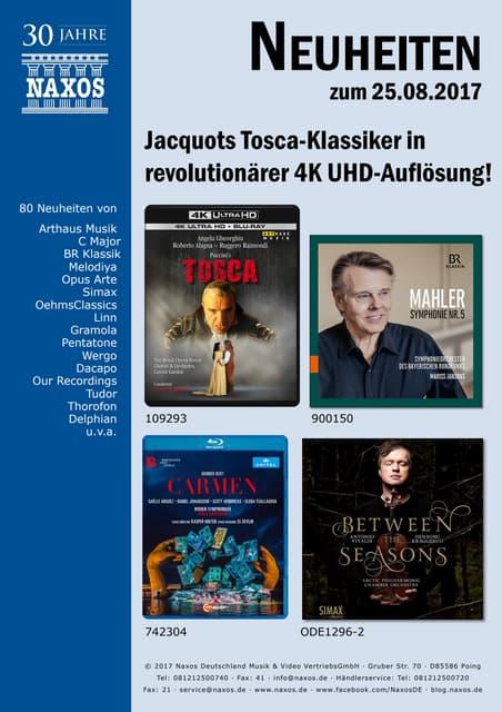 Neuheiten aus dem NAXOS Deutschland Vertrieb am 25. August 2017