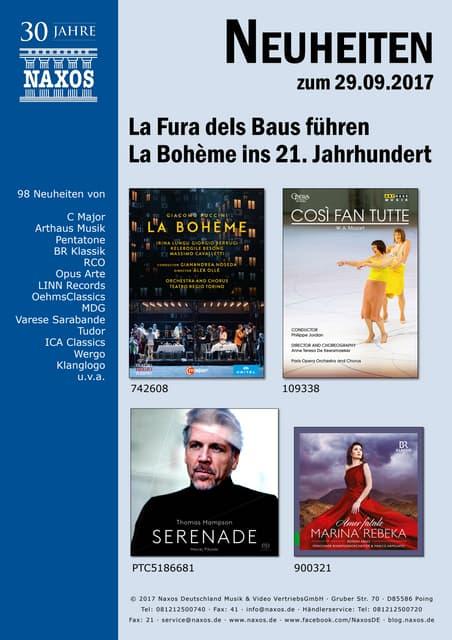 Neuheiten aus dem NAXOS Deutschland Vertrieb am 29. September 2017