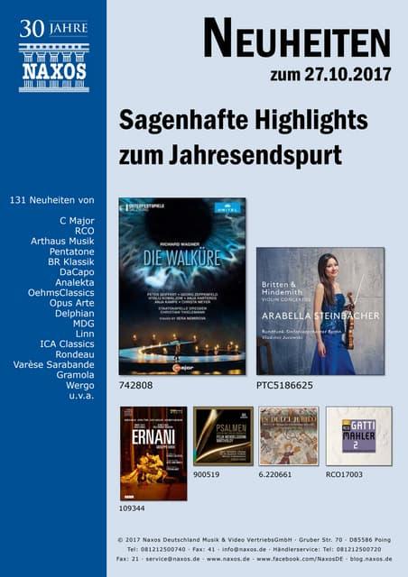 Neuheiten aus dem NAXOS Deutschland Vertrieb am 27. Oktober 2017