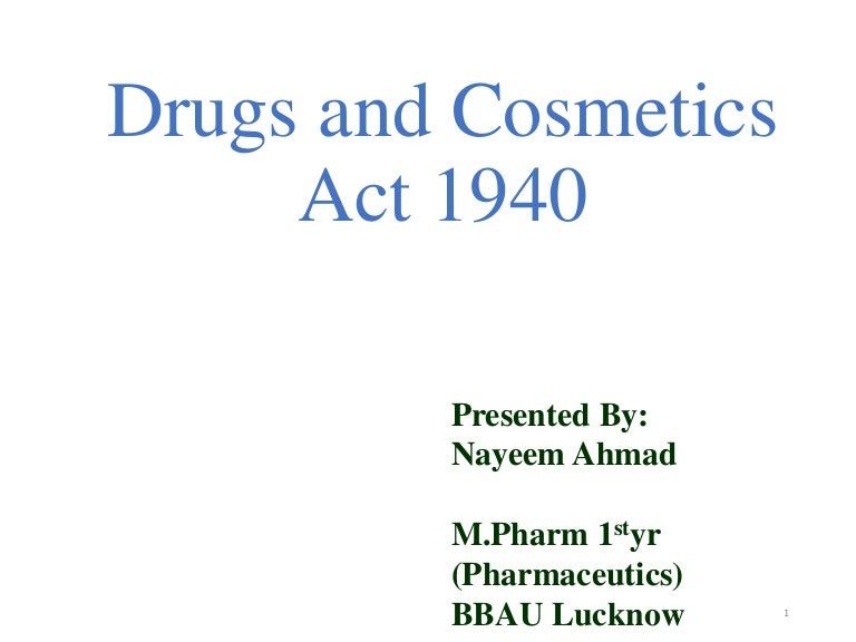 drug and cosmetic act 1940