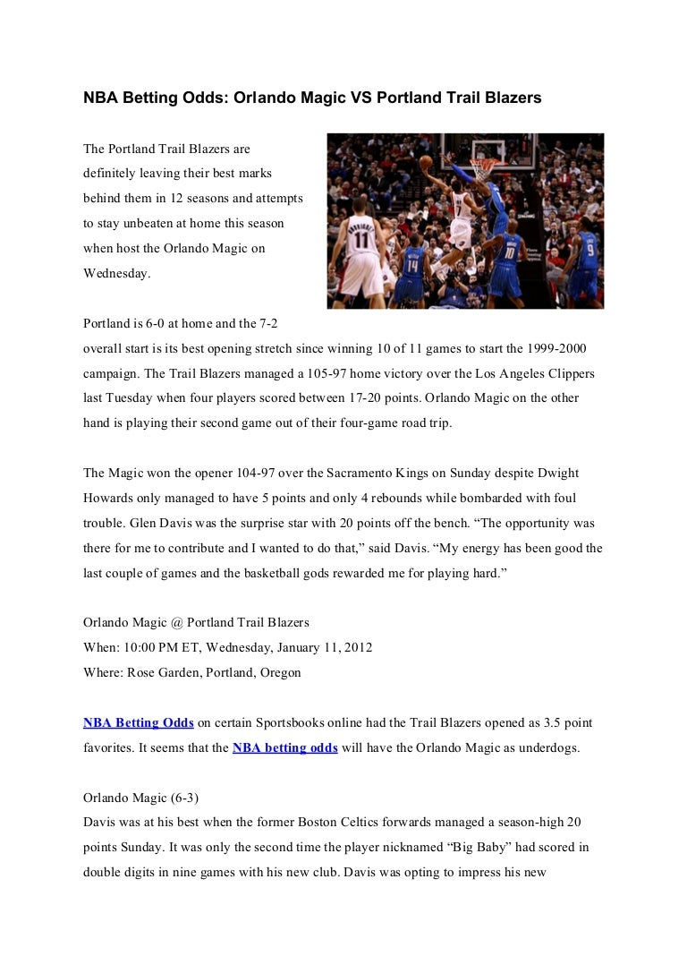 Nba Betting Odds Orlando Magic Vs Portland Trail Blazers