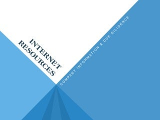 Find It Fast and Free: Locating Companies for Due Diligence & Background Information - NBI 2013