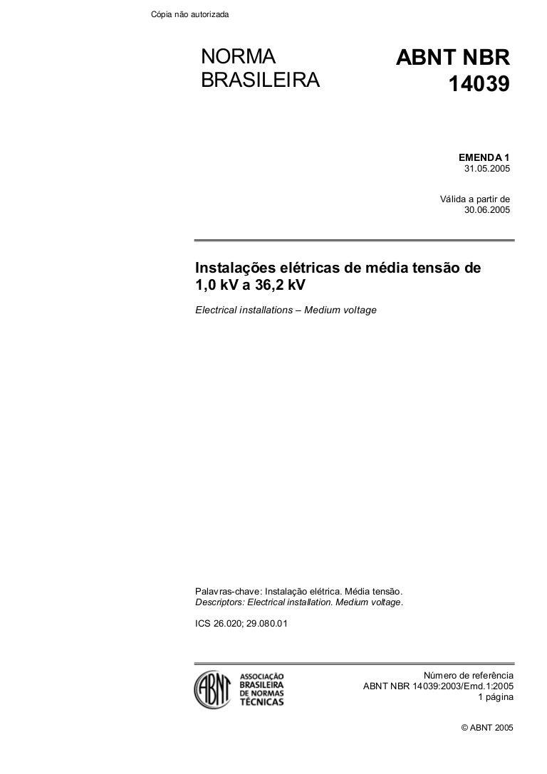 28ce9912916 Nbr 14039 instalacoes eletricas de alta tensao (de 1