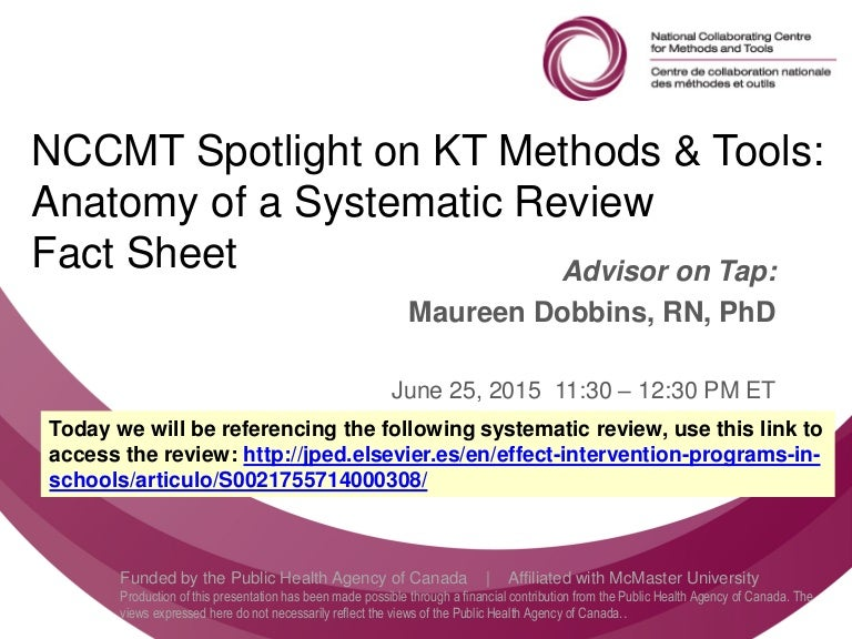 NCCMT webinar - Anatomy of a Systematic Review