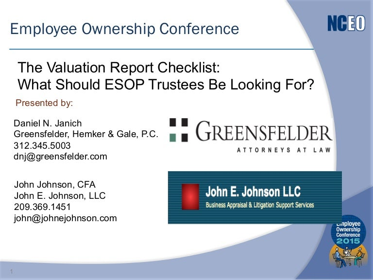 The Valuation Report Checklist: What Should Esop Trustees Be Looking …