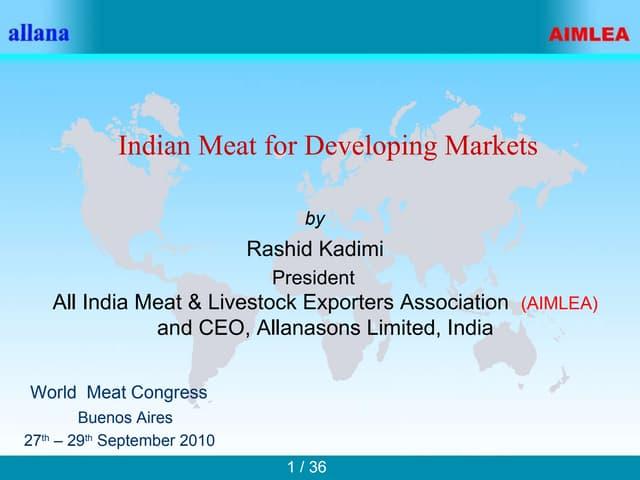 Exportação de carne bovina na Índia