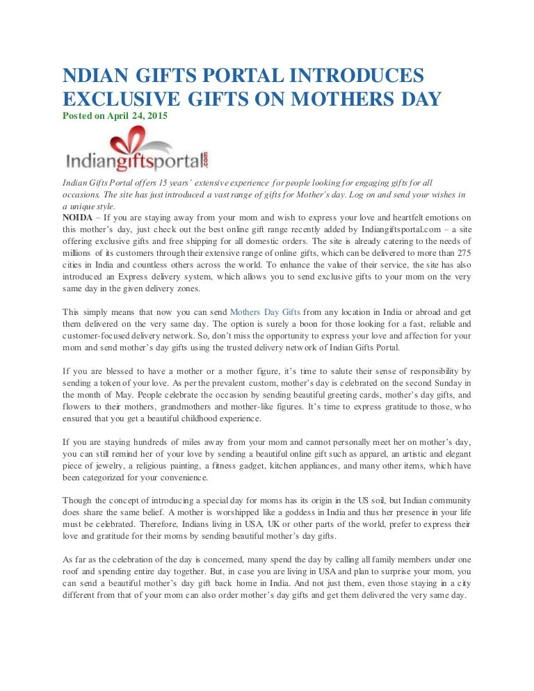 Indian gifts portal introduces exclusive gifts on mothers day