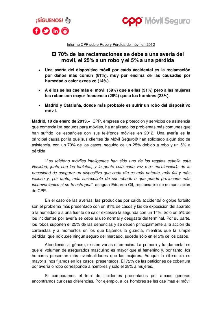 Informe CPP sobre Robo y Pérdida de móvil en 2012