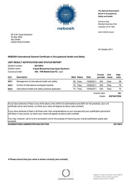 Muhammad Shoaib 00314729 NEBOSH IGC