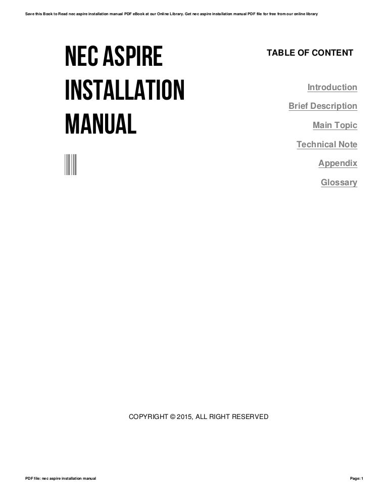 Nec aspire installation manual