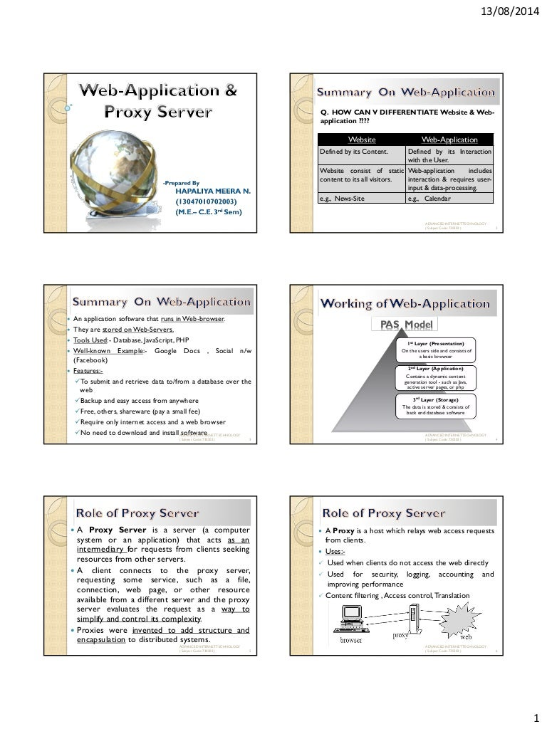 Web application & proxy server
