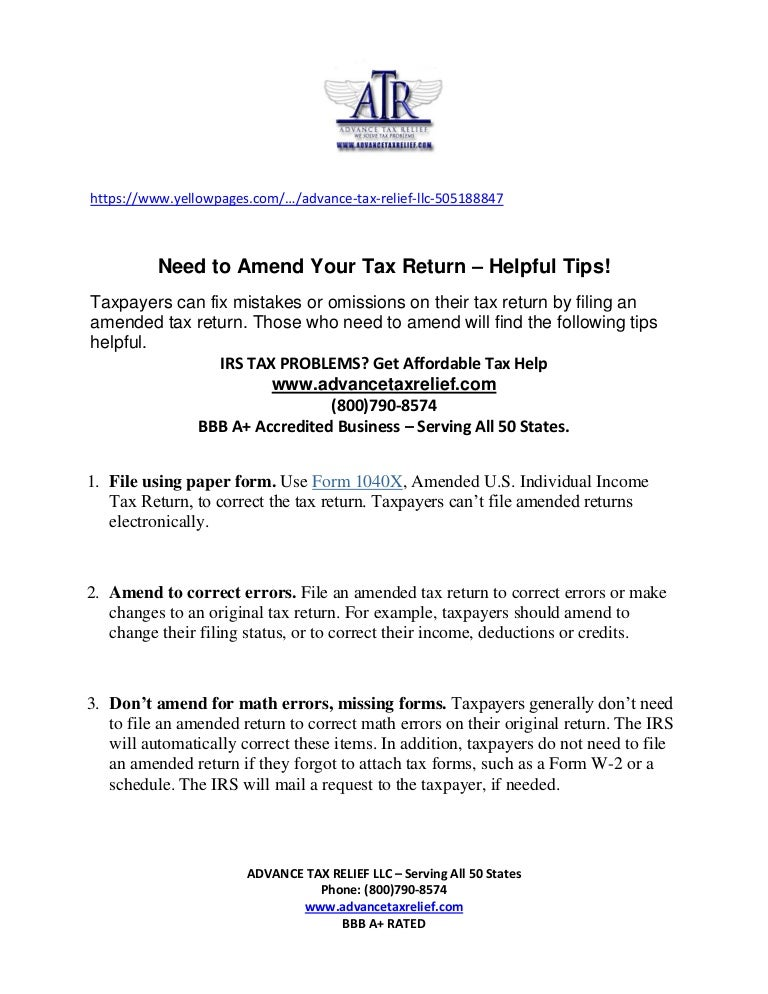 NEED TO AMEND YOUR TAX RETURNS - Advance Tax Relief