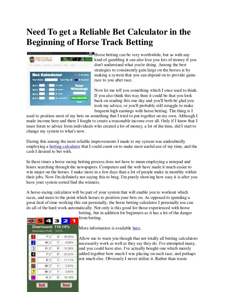 Horse track betting calculator bamma 24 bettingadvice