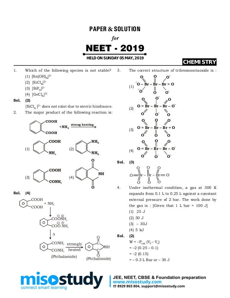 NEET 2019 Question Paper, Answer Key & Solutions