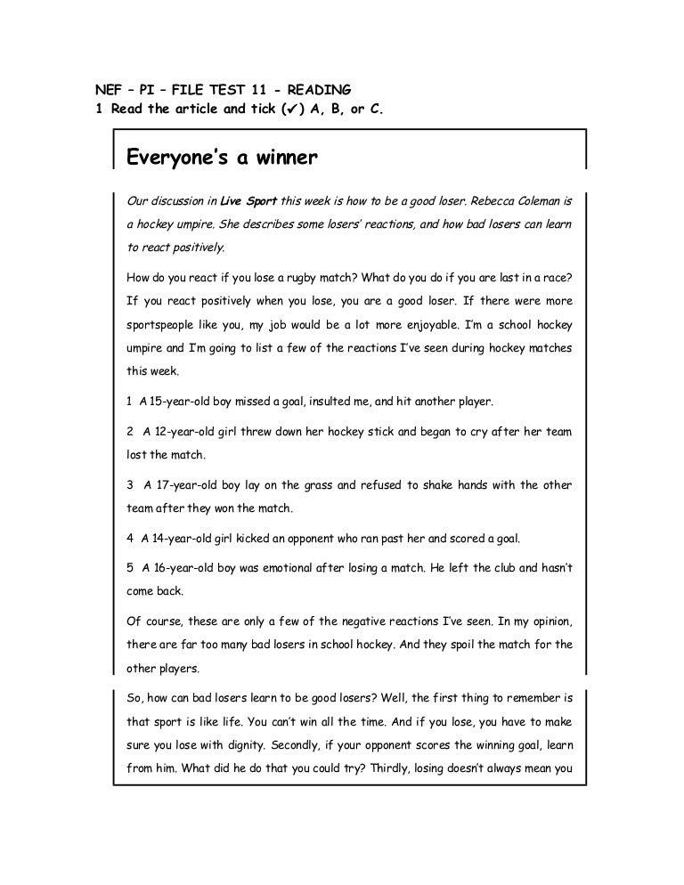 NEF – PI – FILE TEST 11 - READING