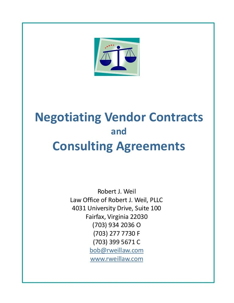 Negotiating vendor contracts – Vendor Contract Agreement