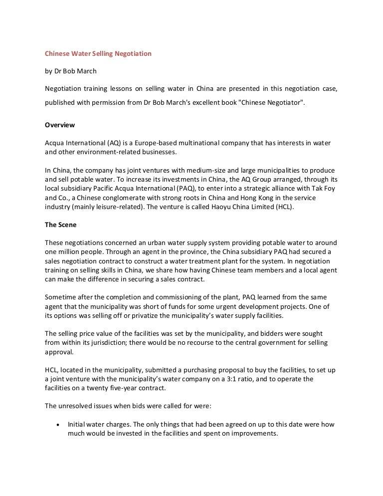 Negotiation - Case Study Essay - 3838 Words