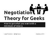 Negotiation Theory for Geeks