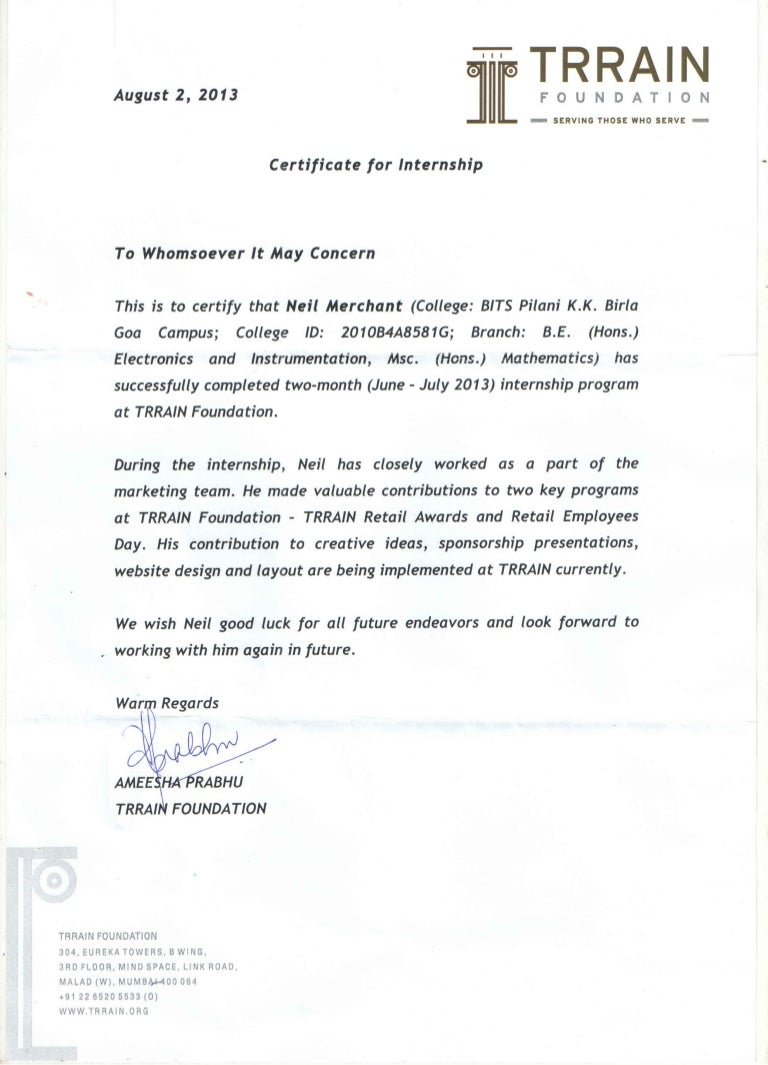 Trrain internship certificate yelopaper Images