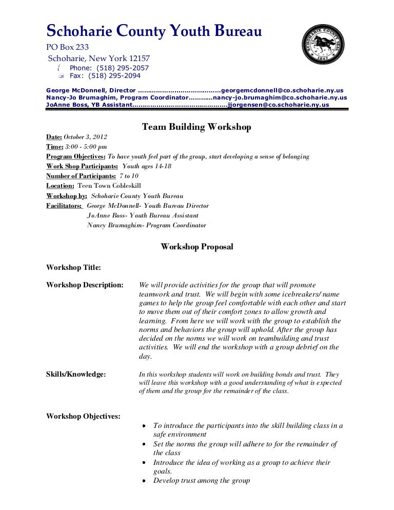 Sample Proposal Letter For Team Building