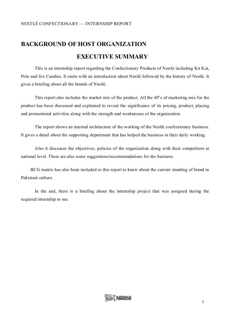 sample of executive summary of a report