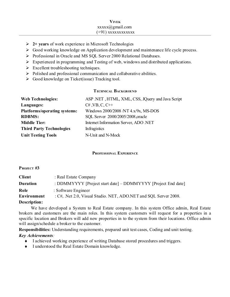 net experience resume sample sql server developer resume sample - Sample Resume 5 Years Experience