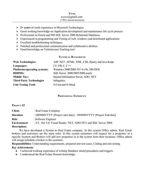 net experience resume sample dot net resume sample