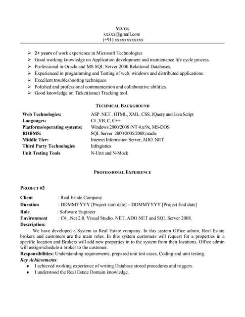net experience resume sample