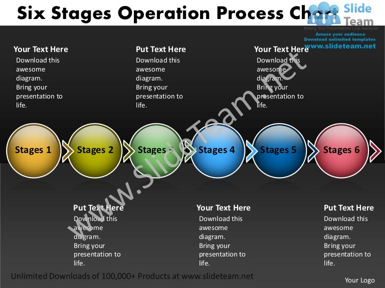 Network Diagram Template Six Stages Operation Process