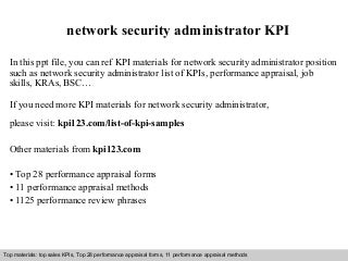 network security administrator kpi network security officer