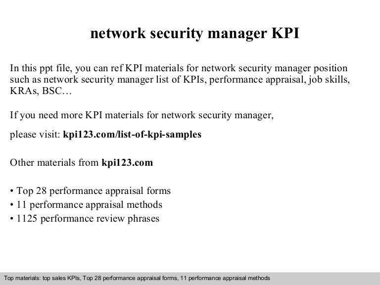 Network security manager kpi – Security Site Manager Jobs