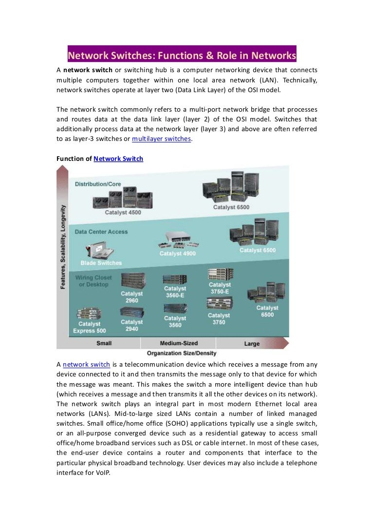 Network switches, functions & role in networks