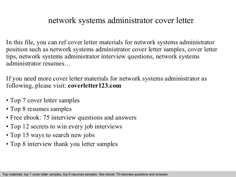 Network systems administrator cover letter