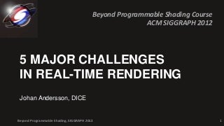 5 Major Challenges in Real-time Rendering (2012)