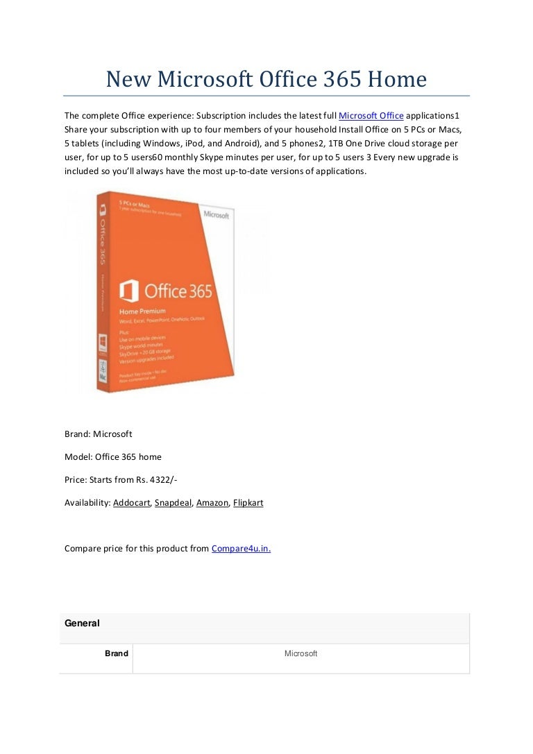New microsoft office 365 home for tech