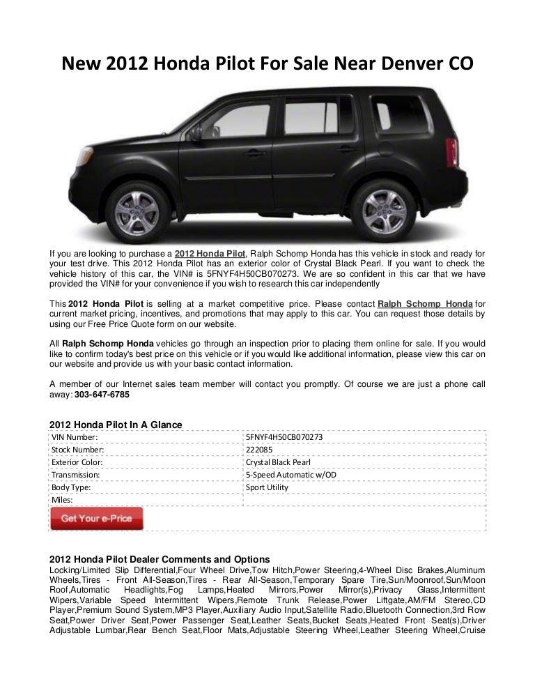 Ralph Schomp Honda >> New 2012 Honda Pilot For Sale Near Denver Co
