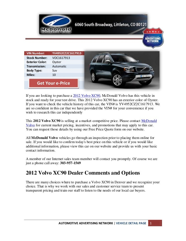 Volvo Dealer Denver >> New 2012 Volvo Xc90 For Sale Near Denver Co