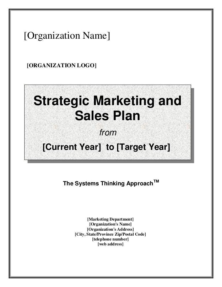 Strategic Marketing U0026 Sales Plan Template