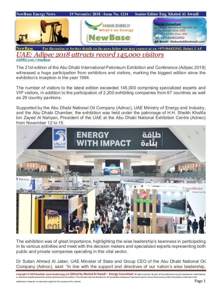 New base energy news november 19 2018 no-1214 by khaled al awadi