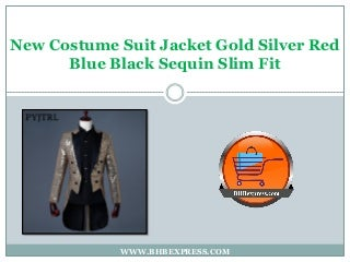 New Costume Suit Jacket Gold Silver Red Blue Black Sequin Slim Fit