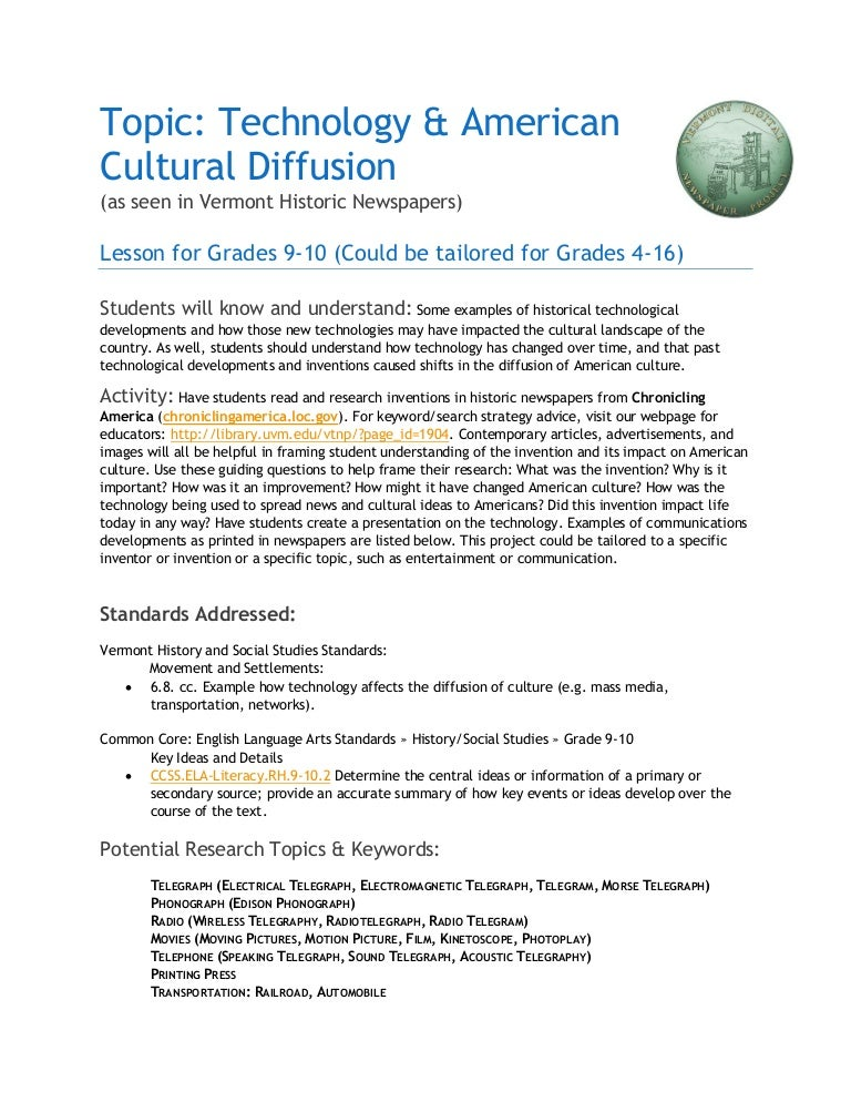 Topic Technology American Cultural Diffusion Lesson Plan