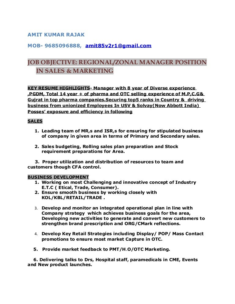 Resume for post of Regional/Zonal Manager