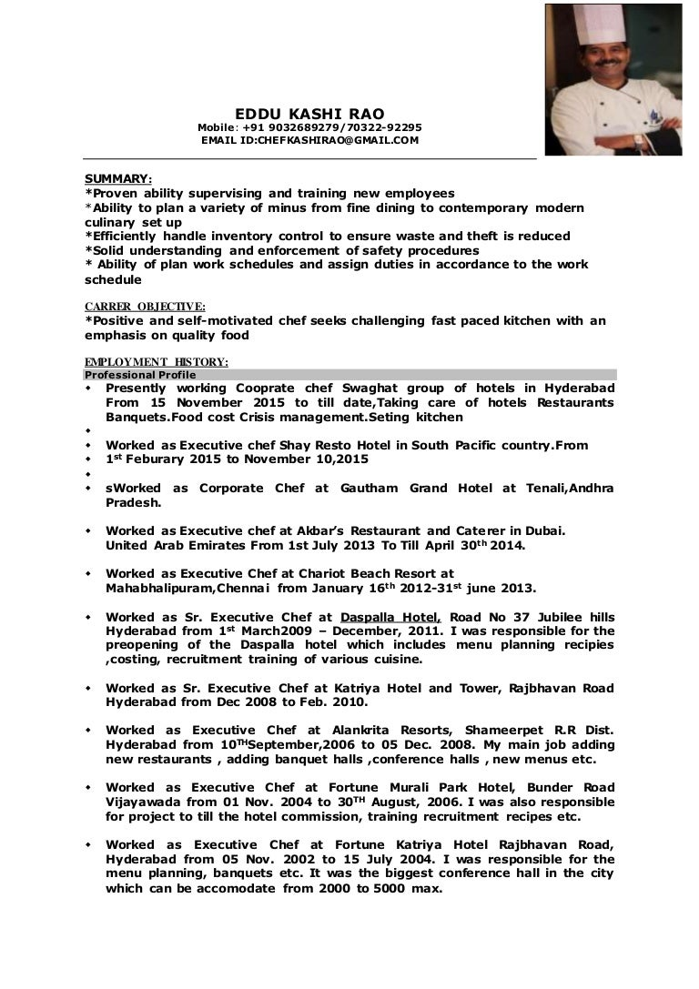 Sous Chef Resume Examples Doc Sample Chef Resume Examples Sous