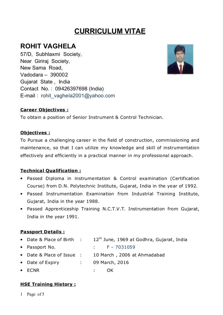 new cv rohit - Sample Resume For Technician Electrical